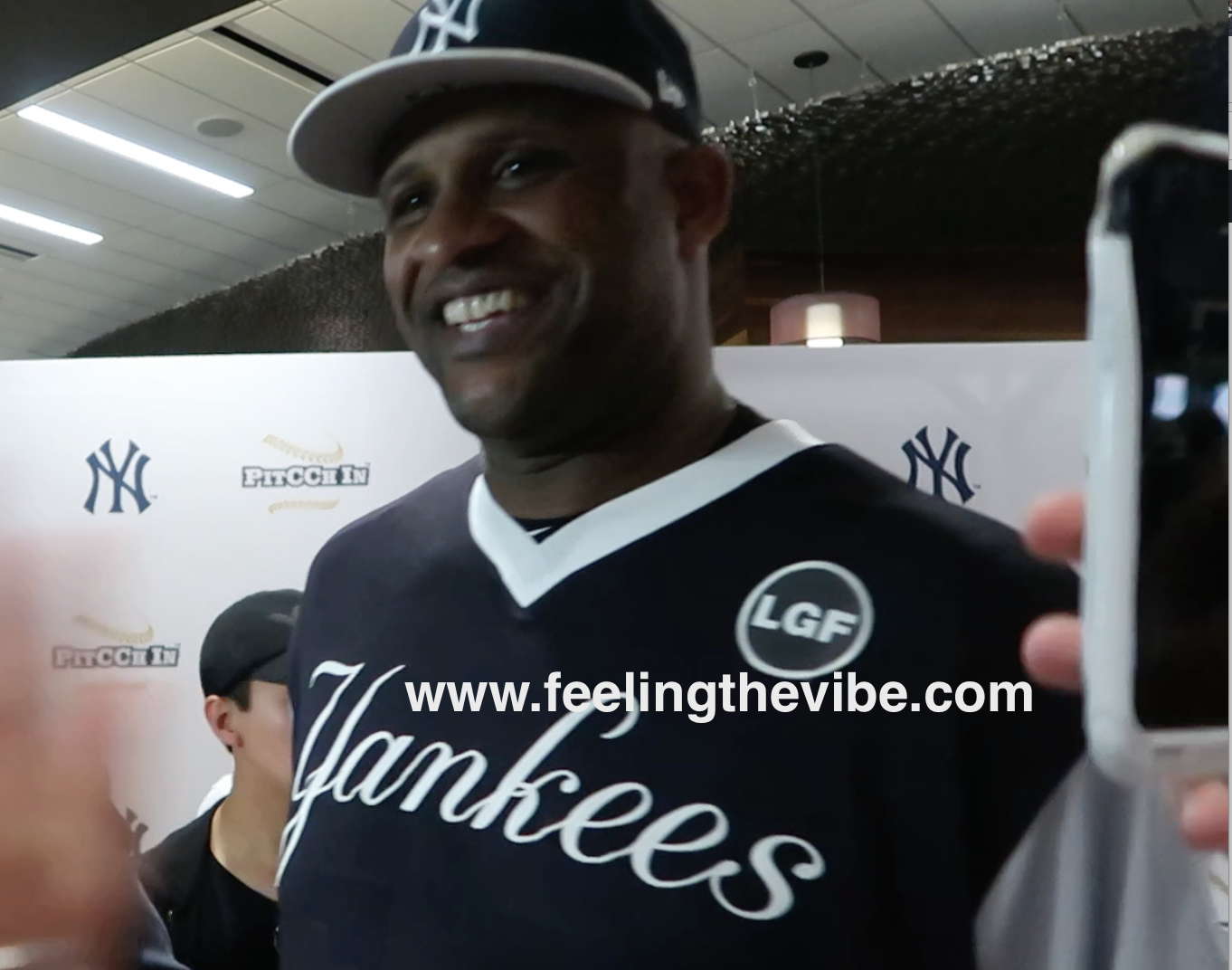 CC Sabathia on the Red Carpet with Feeling the Vibe Magazine at the CC Sabathia Charity Softball Game at Yankee Stadium